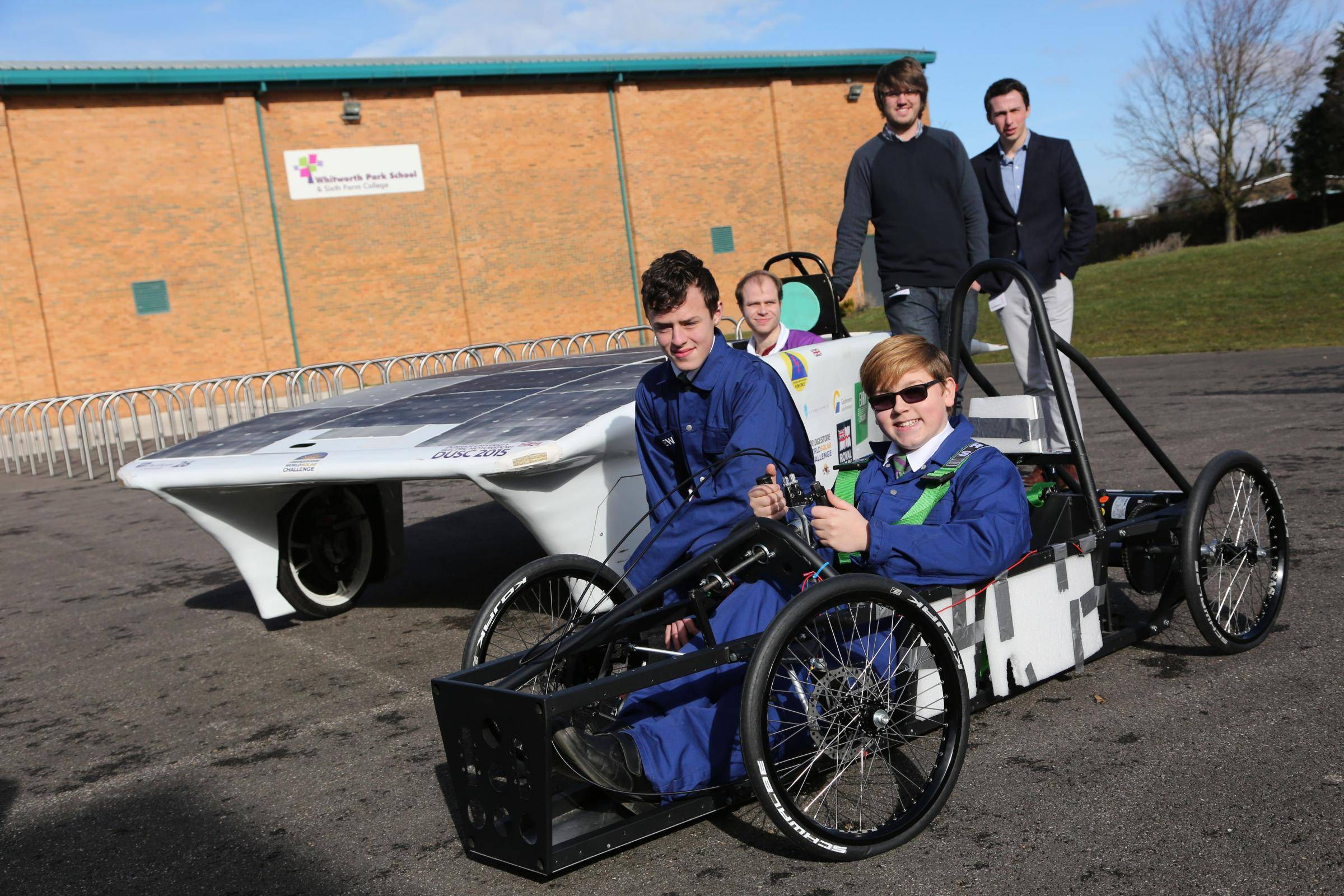 DUEM's Solar Car at Whitworth Park with their Greenpower Team